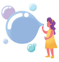 Blowing bubbles with copyspace vector