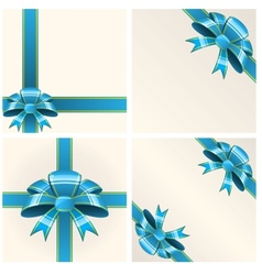 Blue bow with ribbons vector image