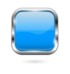 Blue glass button 3d shiny square icon vector