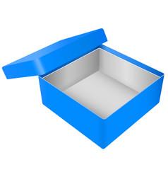 Blue open gift box realistic carton mock up vector