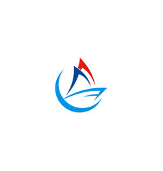 boat sail logo vector image