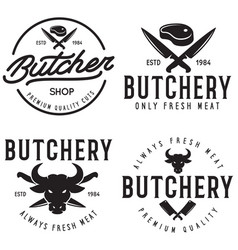butcher shop labels badges emblems set butchery vector image