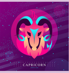 Card with astrology capricorn zodiac sign vector