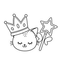 Cat with crown and wand black and white vector