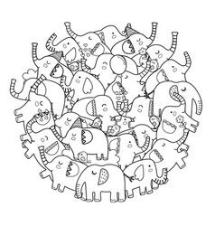 circle shape coloring page with cute elephants vector image