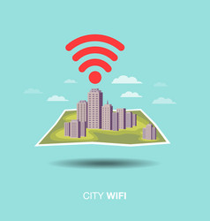 city map wifi flat design icon vector image