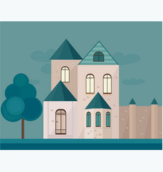 classic architecture facade of a castle at night vector image