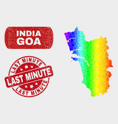 colored mosaic goa state map and scratched last vector image