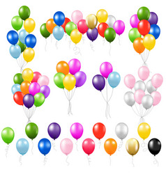 Colorful balloon set isolated white background vector