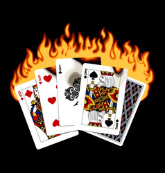 colorful drawing burning playing cards vector image