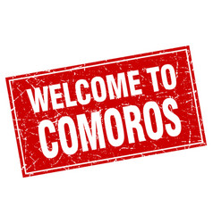 Comoros red square grunge welcome to stamp vector