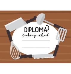 Cooking school diploma vector