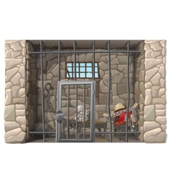 Cowboy prisoner sleeps in a prison cell vector image