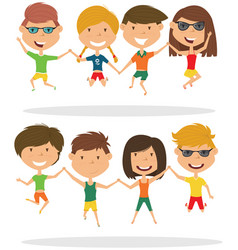 Cute couples jumping outdoor vector
