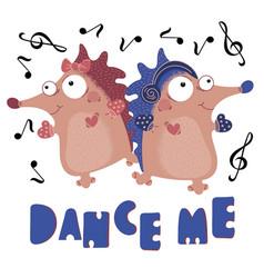 Dance hedgehog valentine day cartoon animal set vector