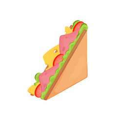 delicious juicy sandwich with vegetables cheese vector image