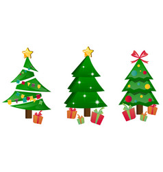Different christmas tree set isolated vector