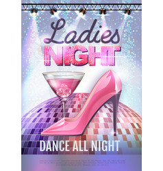 Disco party poster ladies night womens day party vector