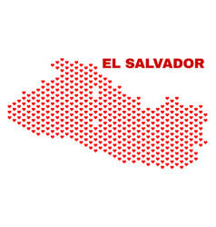 el salvador map - mosaic of valentine hearts vector image