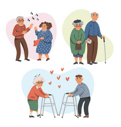 elderly couples leisure in nursing home senior vector image