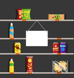 Empty shelves in supermarket during the vector