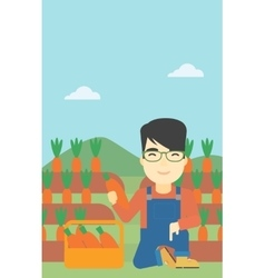 Farmer collecting carrots vector