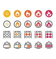 Fire level icon set vector