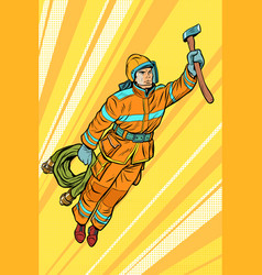 fireman firefighter flying superhero help vector image