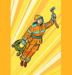 fireman firefighter flying superhero help vector image