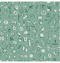 Fitness seamless pattern sketch for your design vector image