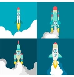 Four poster of rocket ship in a flat style Space vector