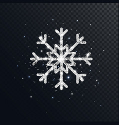 Glitter silver snowflake on dark transparent vector