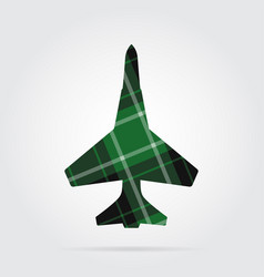 green black tartan isolated icon - fighter vector image