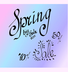 hand drawn lettering spring sale isolated vector image