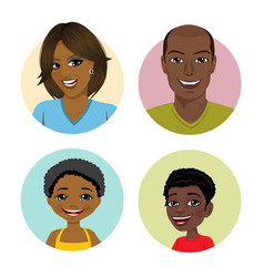 Happy african american family avatars vector