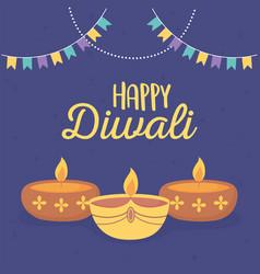 happy diwali festival burning candles pennants vector image