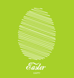 happy easter card with lined egg vector image