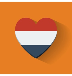 Heart-shaped icon with flag of netherlands vector