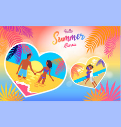 Hello summer love poster of coast and people vector