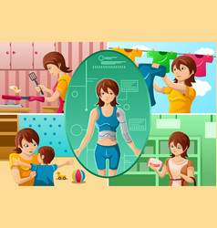 housewife handling multiple tasks vector image