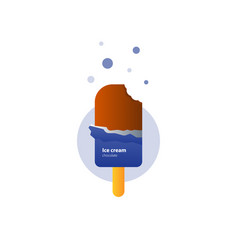 Ice cream on stick with chocolate cover and side vector