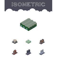 isometric architecture set of industry clinic vector image