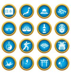 japan icons blue circle set vector image