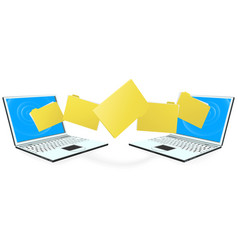 laptop computers transferring files vector image