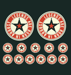 legends are born vintage t-shirt round stamp vector image