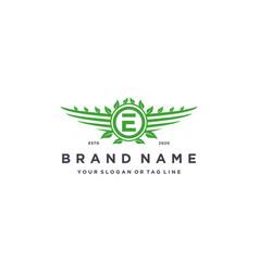 Letter e leaf wing logo design concept vector