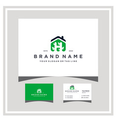 Letter h home leaf logo design and business card vector
