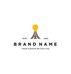 Light bulbs and tower logo design vector