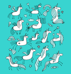 Magic unicorns collection sketch for your design vector
