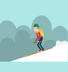 man skiing on mountain flat style vector image